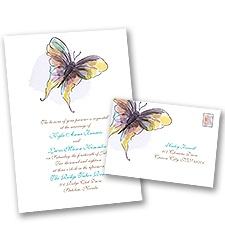 Watercolor Butterfly Wedding Invitation with Free Response Postcard