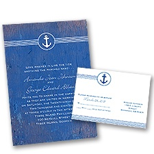Anchored by Love Wedding Invitation with Free Response Postcard