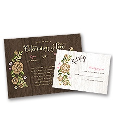 Rustic Whimsy Wedding Invitation with Free Response Postcard