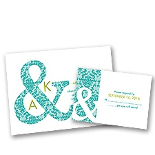 Damask Ampersand Wedding Invitation with Free Response Postcard