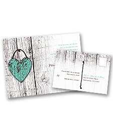 Wood Heart Wedding Invitation with Free Response Postcard