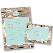Beach Retreat Wedding Invitation with Free Response Postcard