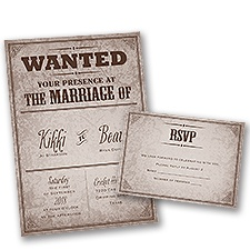 Western Poster Wedding Invitation with Free Response Postcard