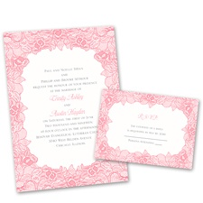 Lace Embrace Vintage Wedding Invitation with Free Response Postcard