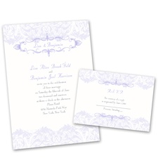 Crest & Flourish Wedding Invitation with Free Response Postcard