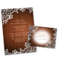 Lace Corners Wedding Invitation with Free Response Postcard