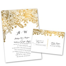 Gold Lace Gold Wedding Invitation with Free Response Postcard
