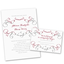 Swirling Beauty Wedding Invitation with Free Response Postcard