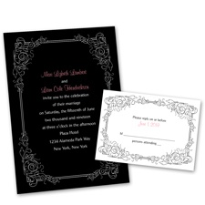 Modern Scrollwork Wedding Invitation with Free Response Postcard