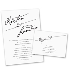 Elegant Script Wedding Invitation with Free Response Postcard