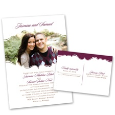 Sophisticated Frame Wedding Invitation with Free Response Postcard