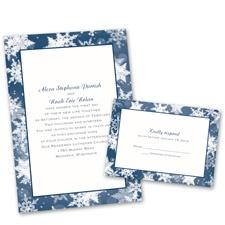 Winter's Wonders Wedding Invitation with Free Response Postcard