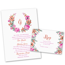 Watercolor Floral Wedding Invitation with Free Response Postcard