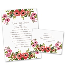 Blooming Beauty Wedding Invitation with Free Response Postcard