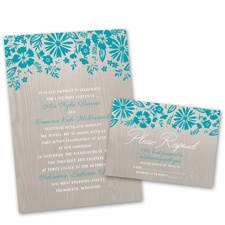 Modern Garden Wedding Invitation with Free Response Postcard