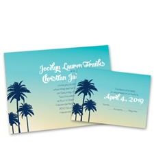 Palm Tree Silhouettes Wedding Invitation with Free Response Postcard