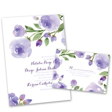 Within Reach Lavender Wedding Invitation with Free Response Postcard
