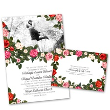 Boho Floral Wedding Invitation with Free Response Postcard