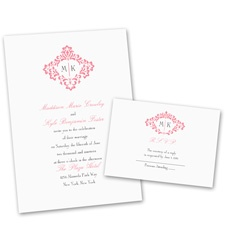 Pretty Flourish Wedding Invitation with Free Response Postcard