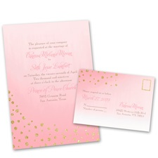 Gold Dust Faux Glitter Gold Wedding Invitation with Free Response Postcard
