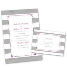 Bold Stripes Wedding Invitation with Free Response Postcard
