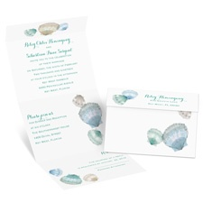 Watercolor Seashells Seal and Send Destination Wedding Invitation
