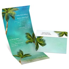Watercolor Palm Trees Seal and Send Destination Wedding Invitation