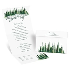 Watercolor Pines Seal and Send Wedding Invitation