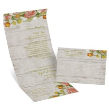 Shabby Chic Floral Seal and Send Vintage Wedding Invitation