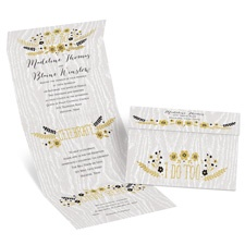 Floral Fancy Seal and Send Gold Wedding Invitation