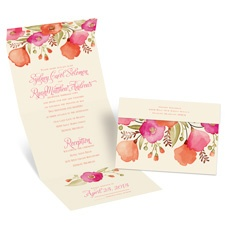 Pretty Posies Ecru Seal and Send Wedding Invitation