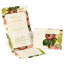 Botanical Beauty Ecru Seal and Send Wedding Invitation