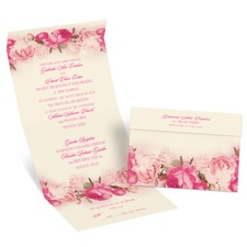 Blushing Blooms Ecru Seal and Send Wedding Invitation