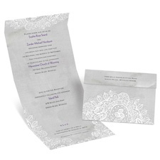 White Lace Seal and Send Vintage Wedding Invitation