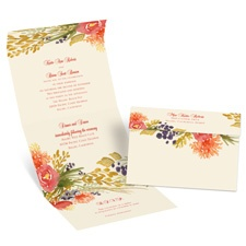 Fall Florals Ecru Seal and Send Gold Wedding Invitation