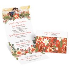 Winter Greens Seal and Send Wedding Invitation