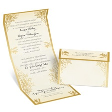 Ferns of Gold Seal and Send Gold Wedding Invitation