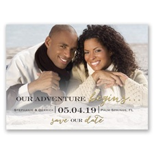 Next Adventure Faux Gold Glitter Save the Date