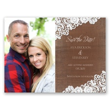 Graced with Lace - Photo Save the Date Card