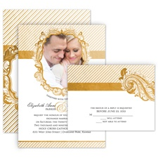 Antique Treasure All in One Gold Wedding Invitation
