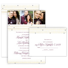 Gold Beads All in One Wedding Invitation