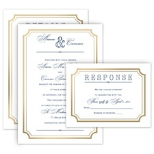 Gold Frame All in One Gold Wedding Invitation