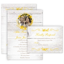 Country Floral All in One Fall Wedding Invitation