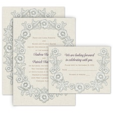 Vintage Trim All in One Wedding Invitation