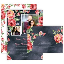 Chalkboard Roses All in One Wedding Invitation