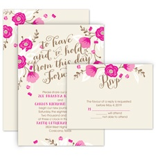 Floral Romance All in One Elegant Wedding Invitation