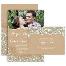 Baby's Breath All in One Wedding Invitation