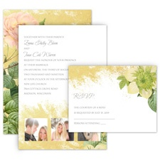 Boho in Gold All in One Wedding Invitation