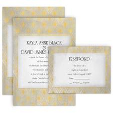 All Diamonds All in One Gold Wedding Invitation