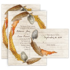 Woodland Feathers All in One Wedding Invitation